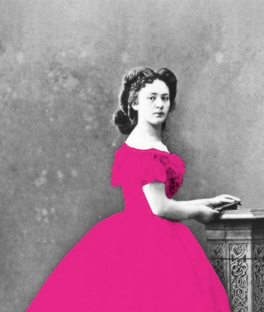 Bertha von Suttner mit pinkem Kleid